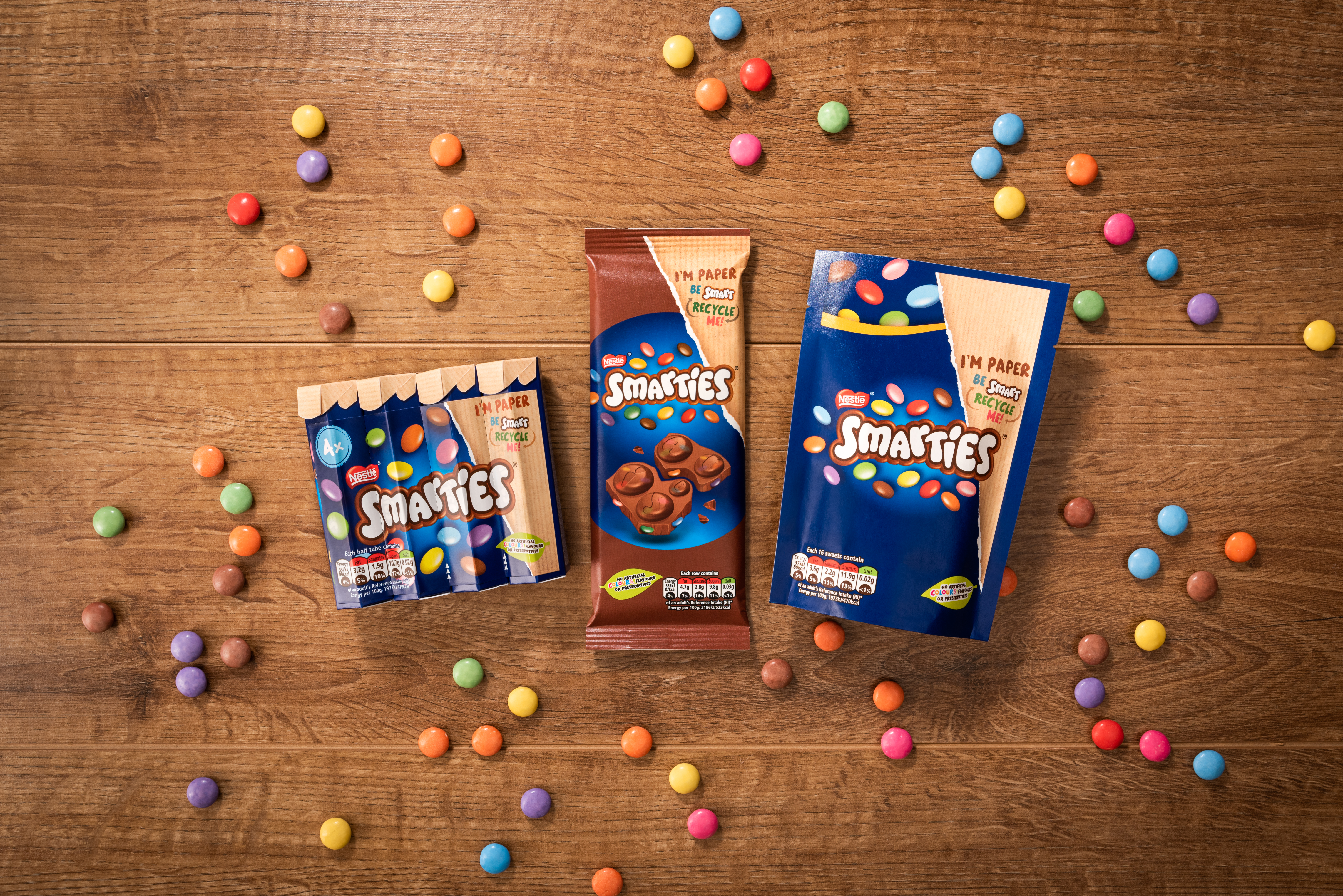 Smarties paper packaging